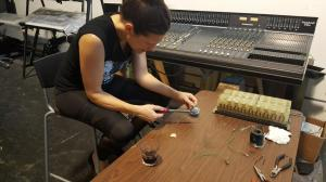 Amy working on the patchbay
